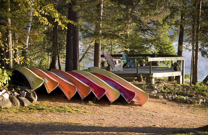 Canoes at Killarney Lodge in Algonquin Park.
