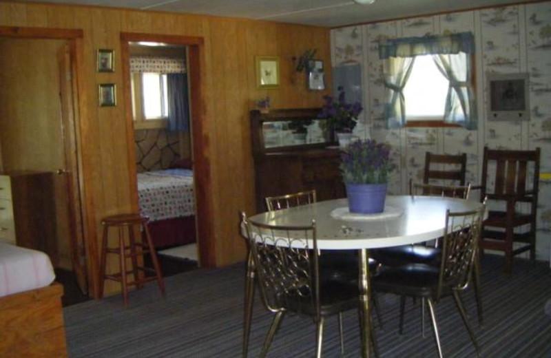 Cabin dining room at Silver Beach Resort.