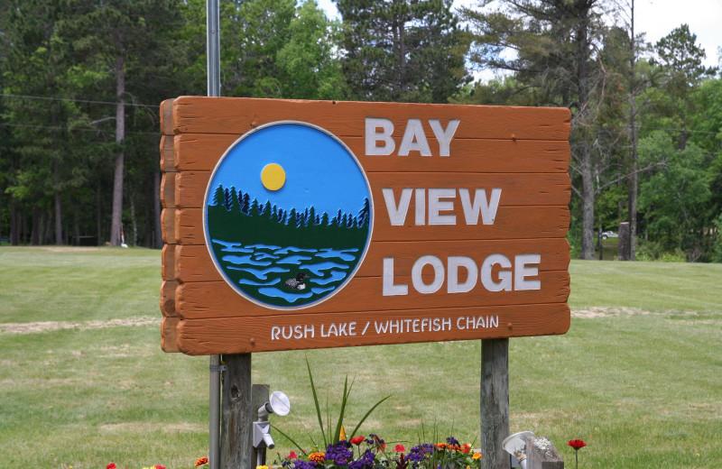 Sign at Bay View Lodge.