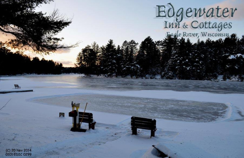 Winter time view at Edgewater Inn & Cottages.