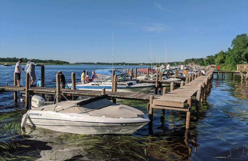Boats at River Bend's Resort & Walleye Inn.