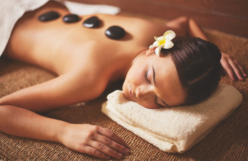Spa hot stone massage at Landoll's Mohican Castle.
