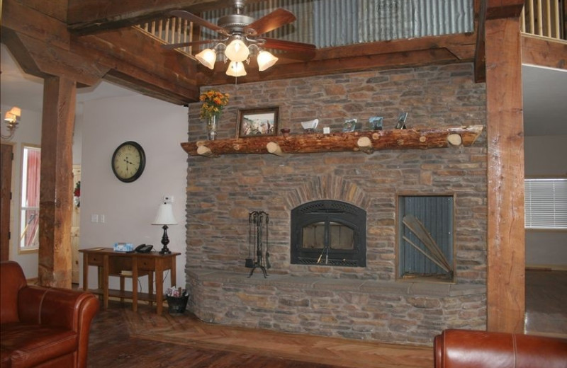 Fireplace at Fall River Lodge.
