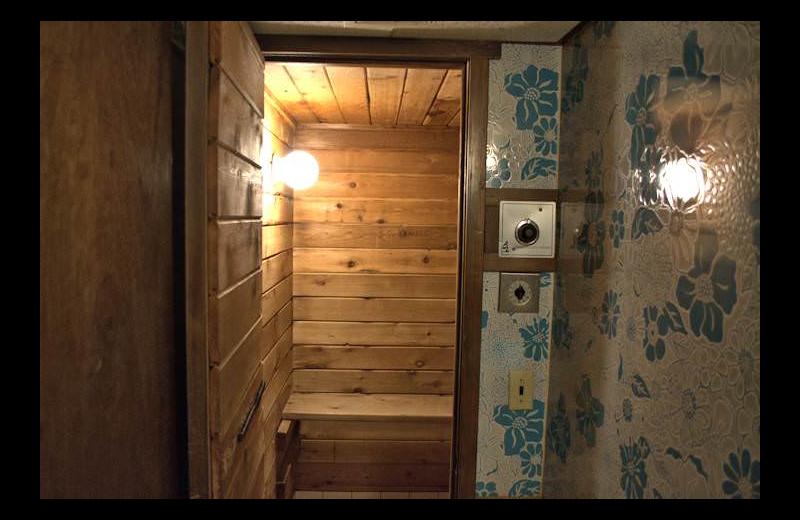 Cabin sauna at Silver Rapids Lodge.