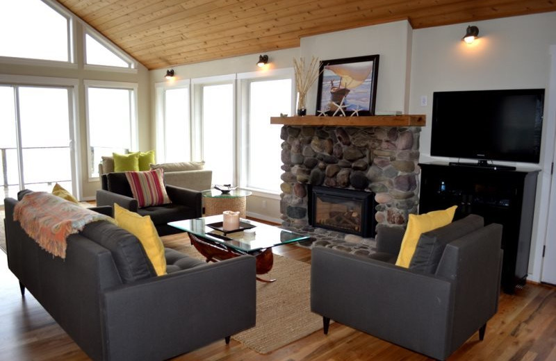 Fireplace living room at Bella Beach Property Management.