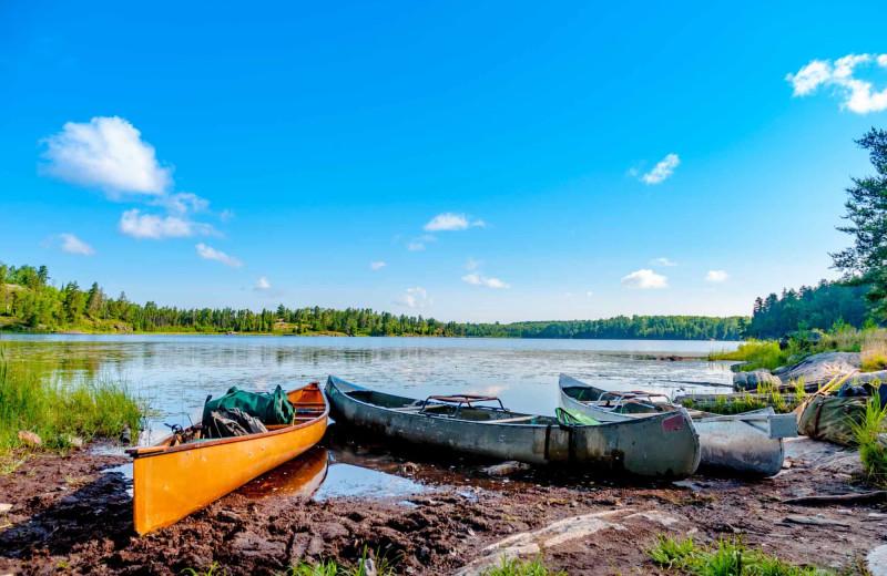 Canoes at River Bend's Resort & Walleye Inn.