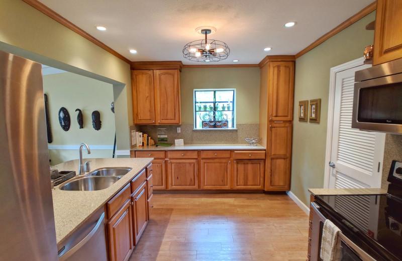 Rental kitchen at Walker Vacation Rentals.