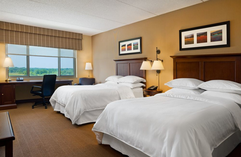 Guest room at Sheraton St. Paul Woodbury Hotel.