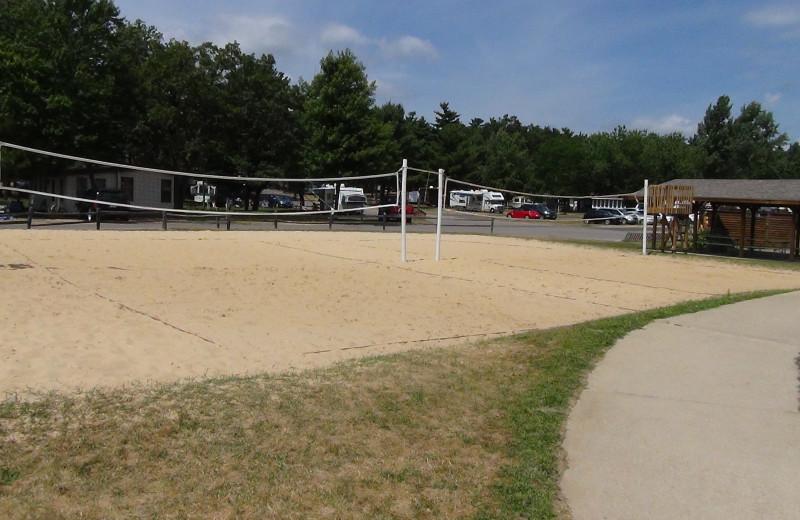 Volleyball court at Yogi Bear's Jellystone Park Warrens.
