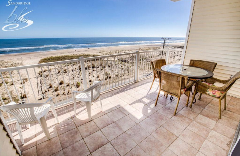 Rental balcony at Sandbridge Blue Vacation Rentals.