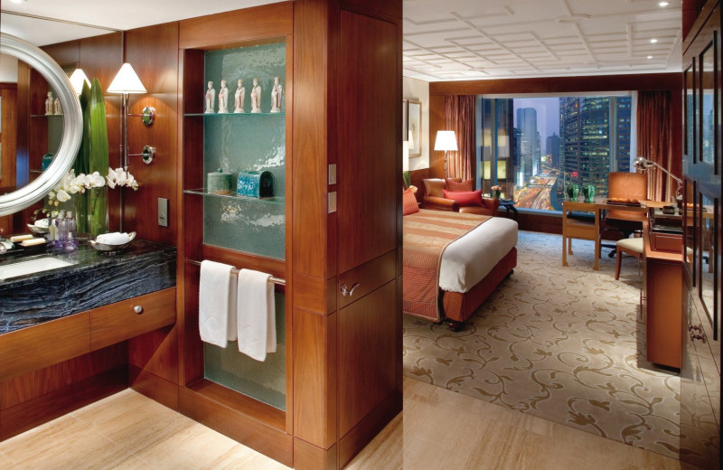 Guest room at Mandarin Oriental Hong Kong.