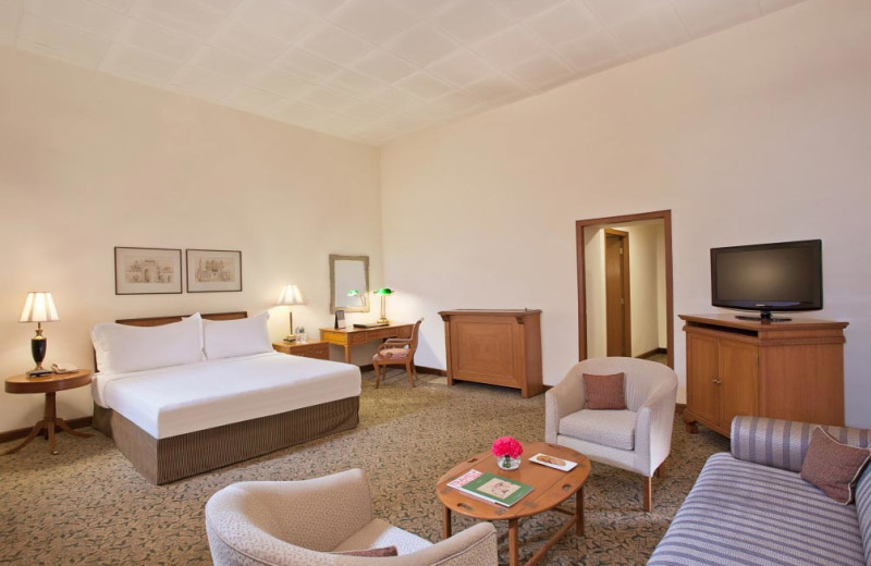 Guest room at Oberoi Maidens Hotel.