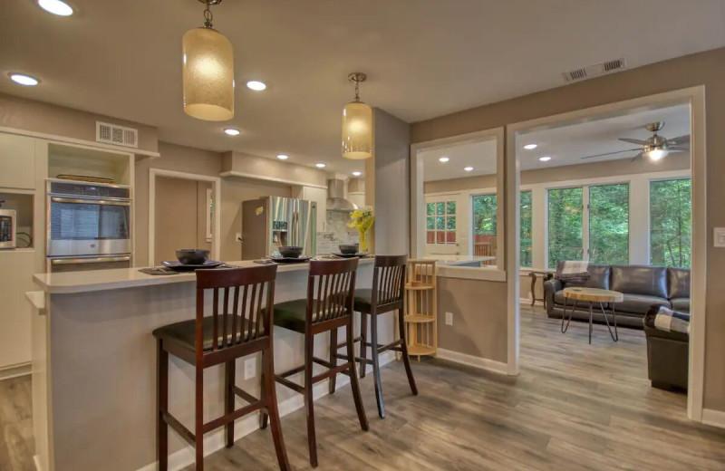 Rental kitchen at Aunt Bug's Cabin Rentals, LLC.