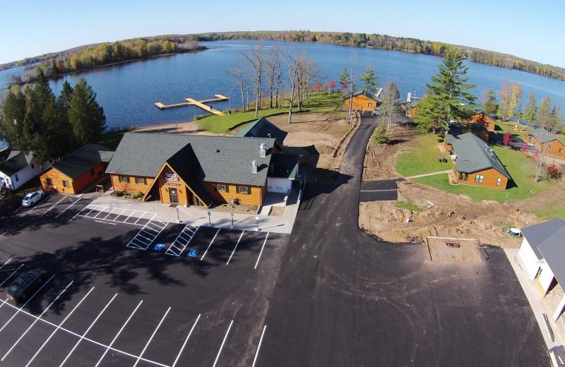 Aerial view of Northern Pines Resort.