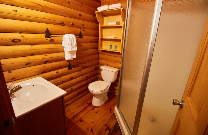 Cabin bathroom at Yogi Bear's Jellystone Park Warrens.