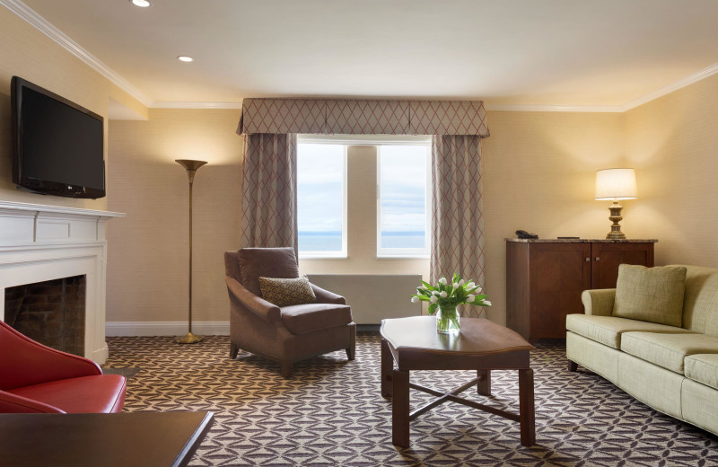 Guest room at Fairmont Le Manoir Richelieu.