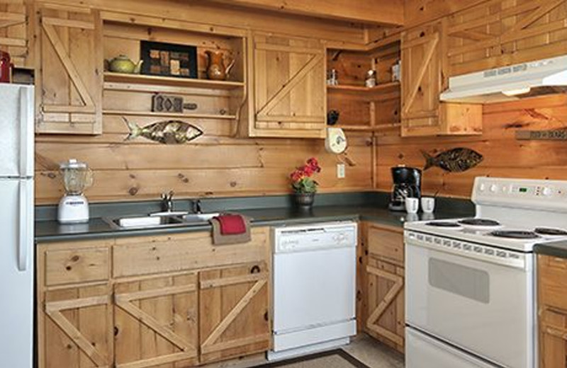 Cabin kitchen at Dollywood Cabins.