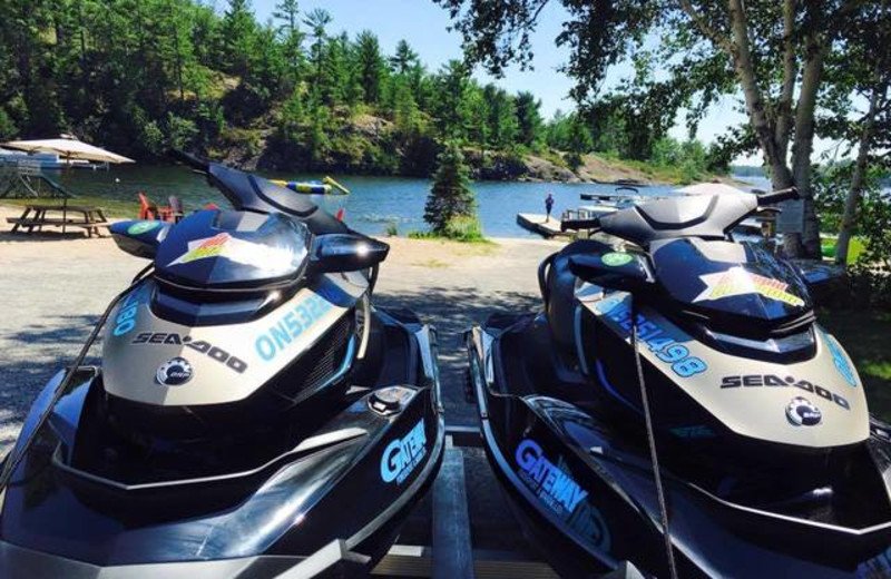 Jet skis at Pleasant Cove Resort.