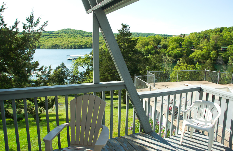 Cabin deck at Alpine Lodge Resort.