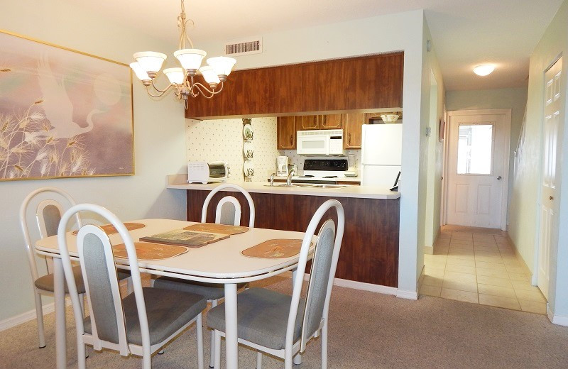 Rental kitchen at Family Sun Vacation Rentals.