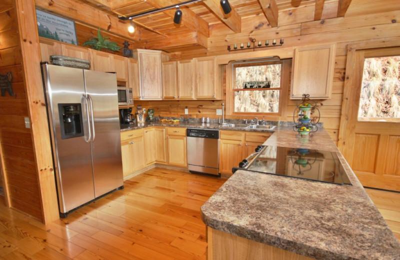 Cabin kitchen at Smoky Mountain Getaways.