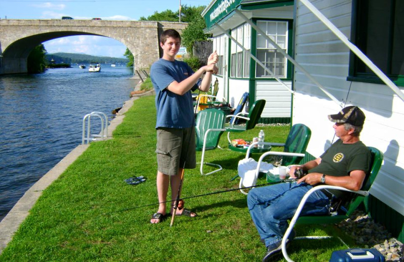 Fishing at Channel Waterfront Cottages.
