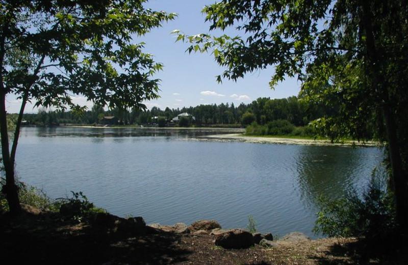 Beautiful lake view at Lazy Oaks Resort.
