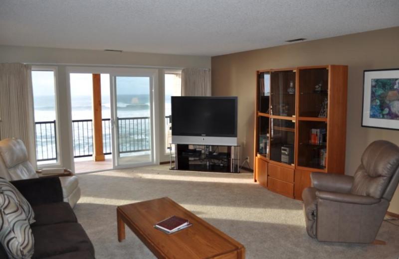 Unit 37 living room at Cavalier Beachfront Condominiums.