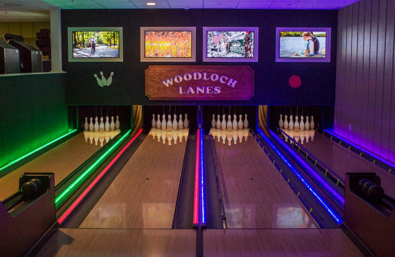 Bowling alley at Woodloch Resort.