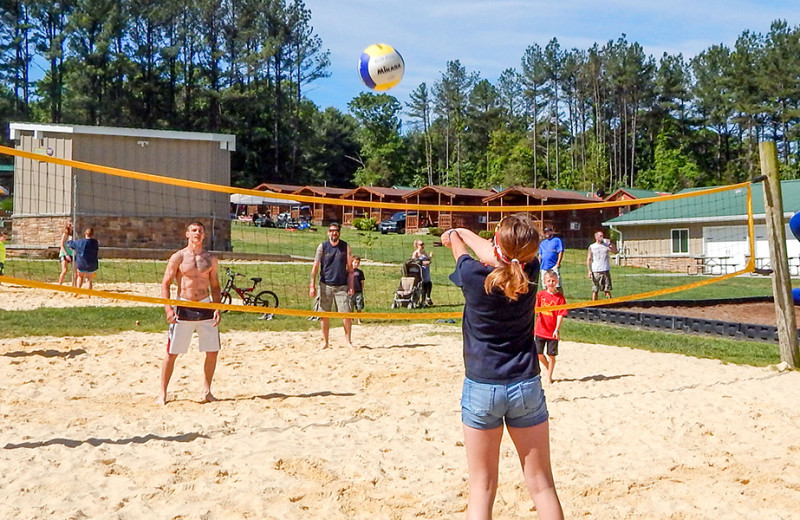 Volleyball court at Yogi Bear's Camp Golden Valley.