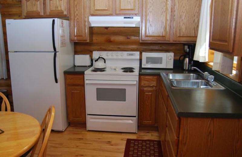 Cabin kitchen at Newton Fork Ranch.