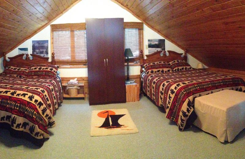 Cabin bedroom at Gingerbread Cabin