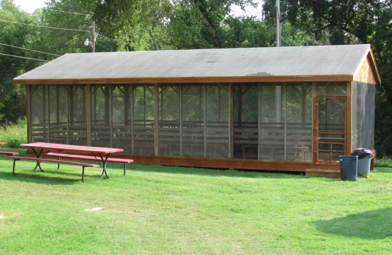 Screened pavilion at The Cottage Resort & Marina Inn.