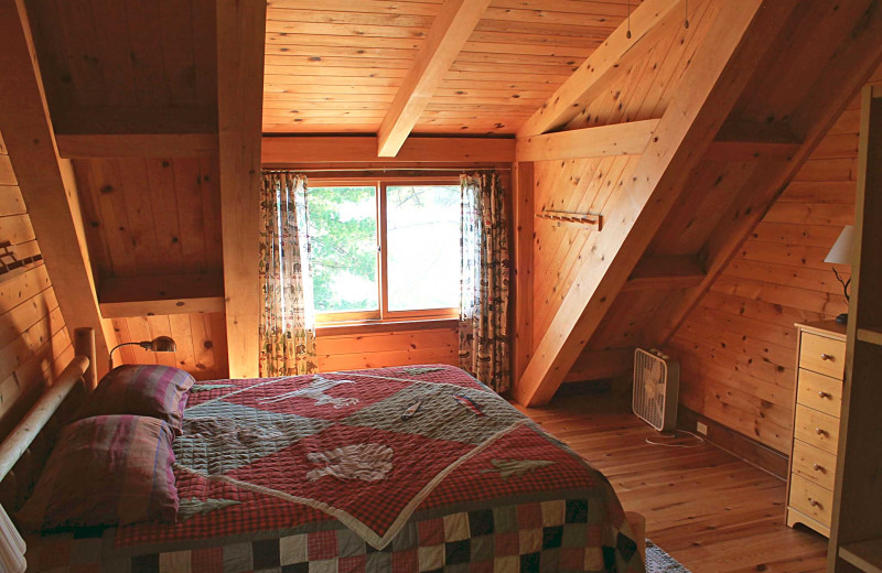 Cabin bedroom at Zup's Fishing Resort and Canoe Outfitters.