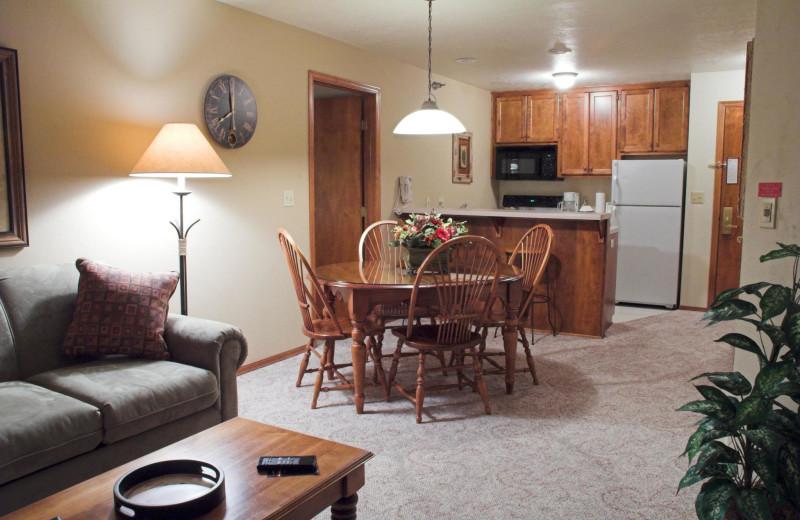Guest room interior at Bridgeport Waterfront Resort.