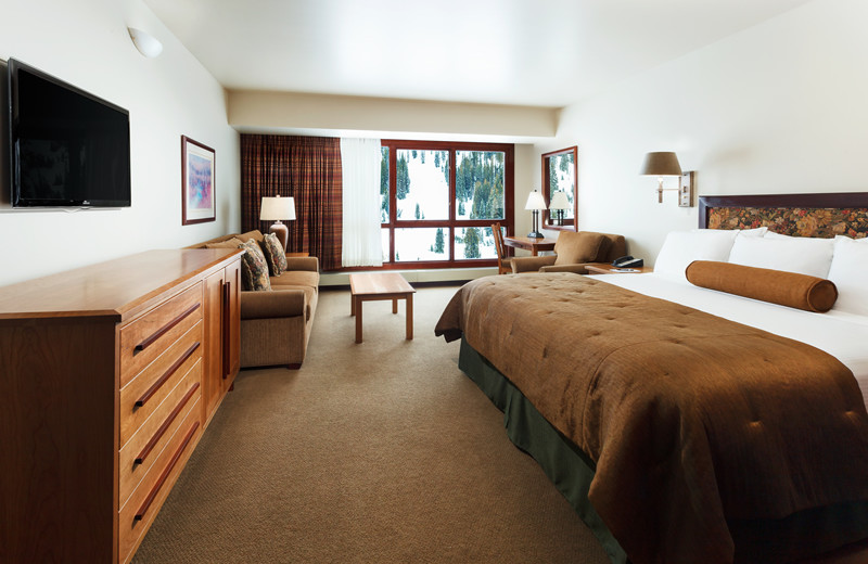 King Bed with Queen Sofa Pull Out (if needed), Complete Bathroom and Full Mountain View at Alta's Rustler Lodge.