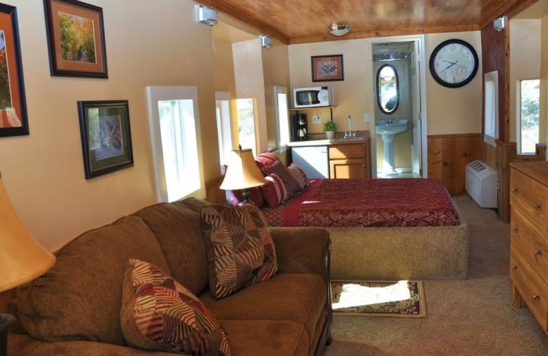 Caboose interior at Big Rock Candy Mountain Resort.
