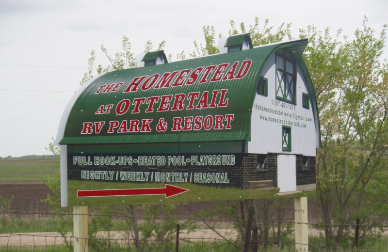 Welcome sign at The Homestead at Ottertail RV Park and Resort.