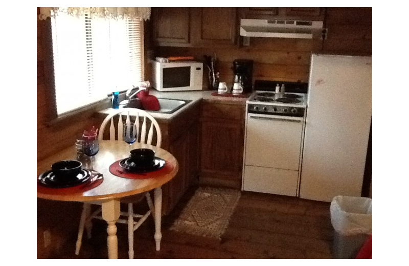 Cabin kitchen at The Whip Poor Will Resort.
