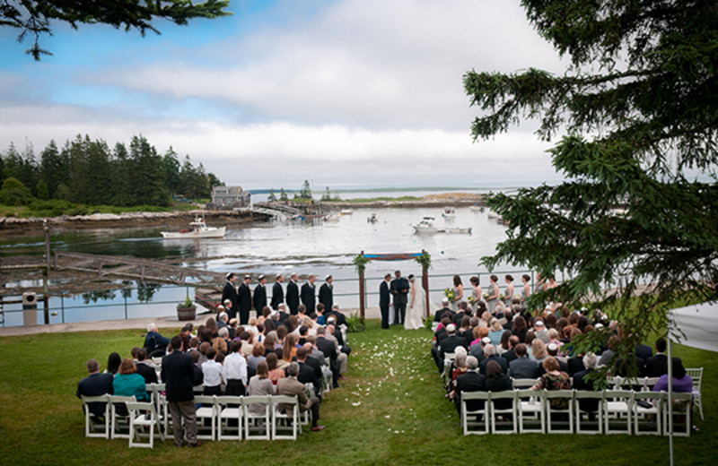 Wedding ceremony at Newagen Seaside Inn.