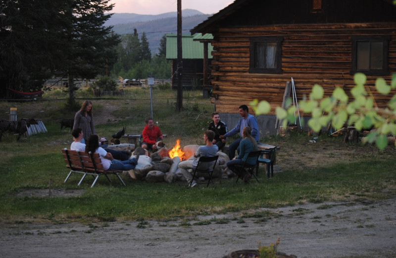 Campfire at Medicine Bow Lodge.