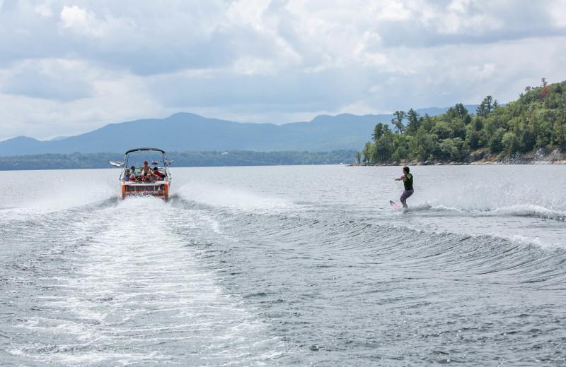Water skiing behind Epic Boat at Basin Harbor.