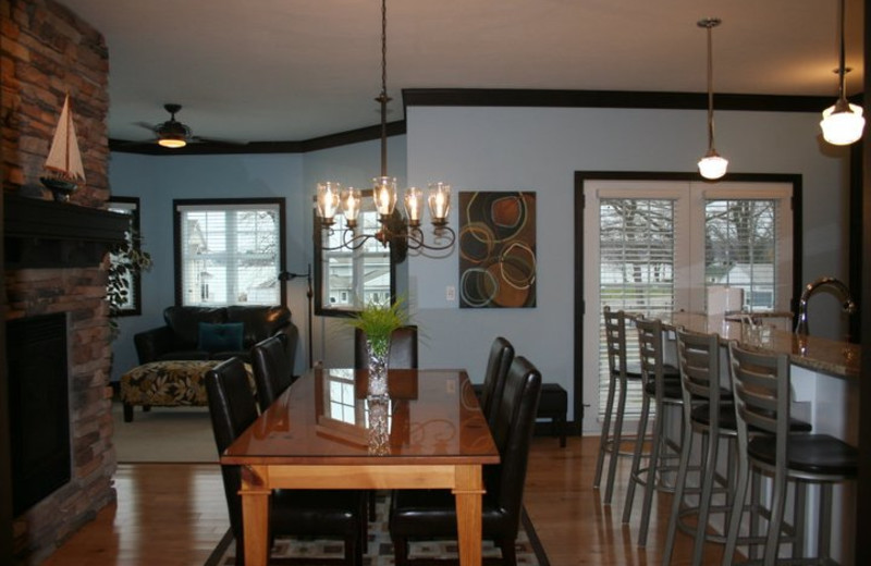 Vacation rental dining room at The Beach House.