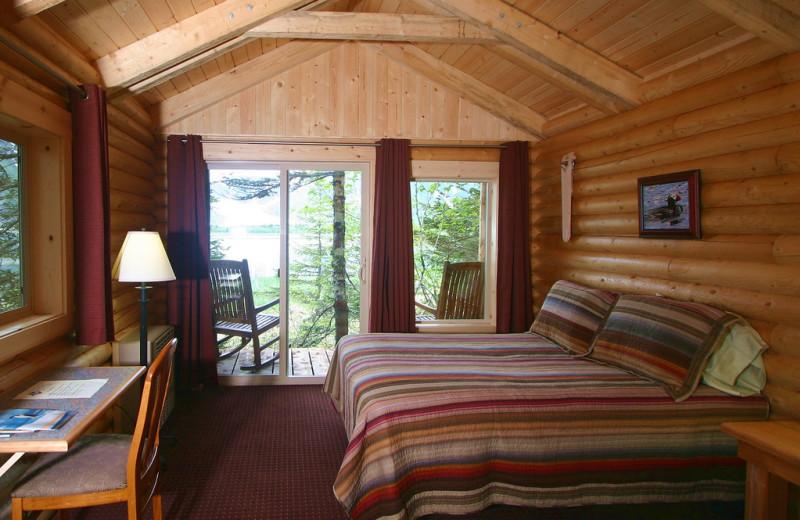 Cabin bedroom at Kenai Fjords Glacier Lodge.