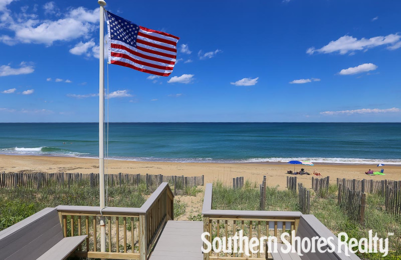 Rental beach view at Southern Shores Realty.