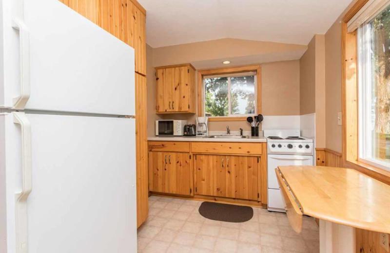 Cabin kitchen at Barrett Lake Resort.
