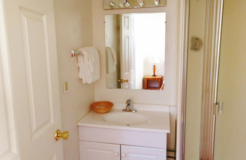 Cabin bathroom at East Glacier Motel & Cabins.