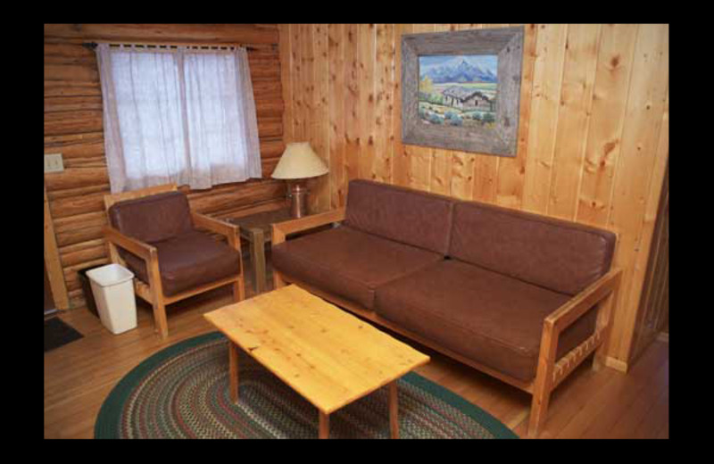 Cabin living room at Triangle X Ranch.