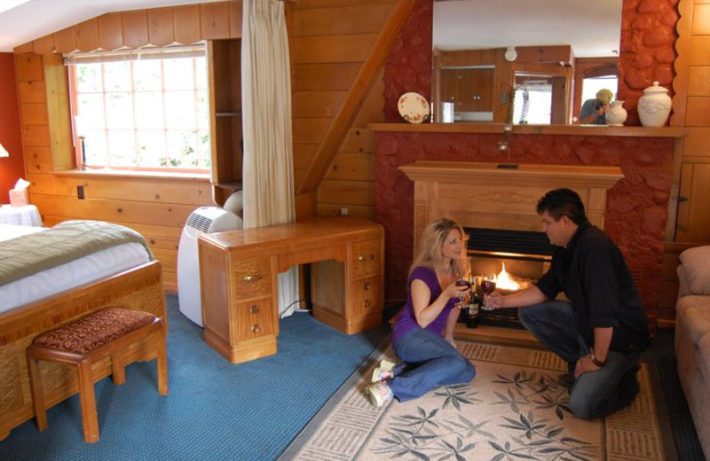 Couple bear fireplace at Hood Canal Cottages.