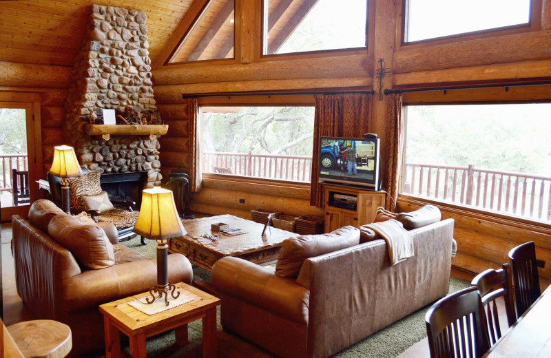 Cabin living room at Log Country Cove.
